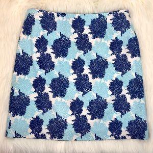 Vineyard Vines Blue Coral Pencil Skirt